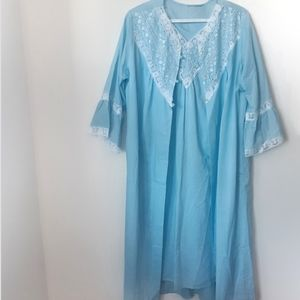 Vintage Blue Nightgown w/ Matching Robe